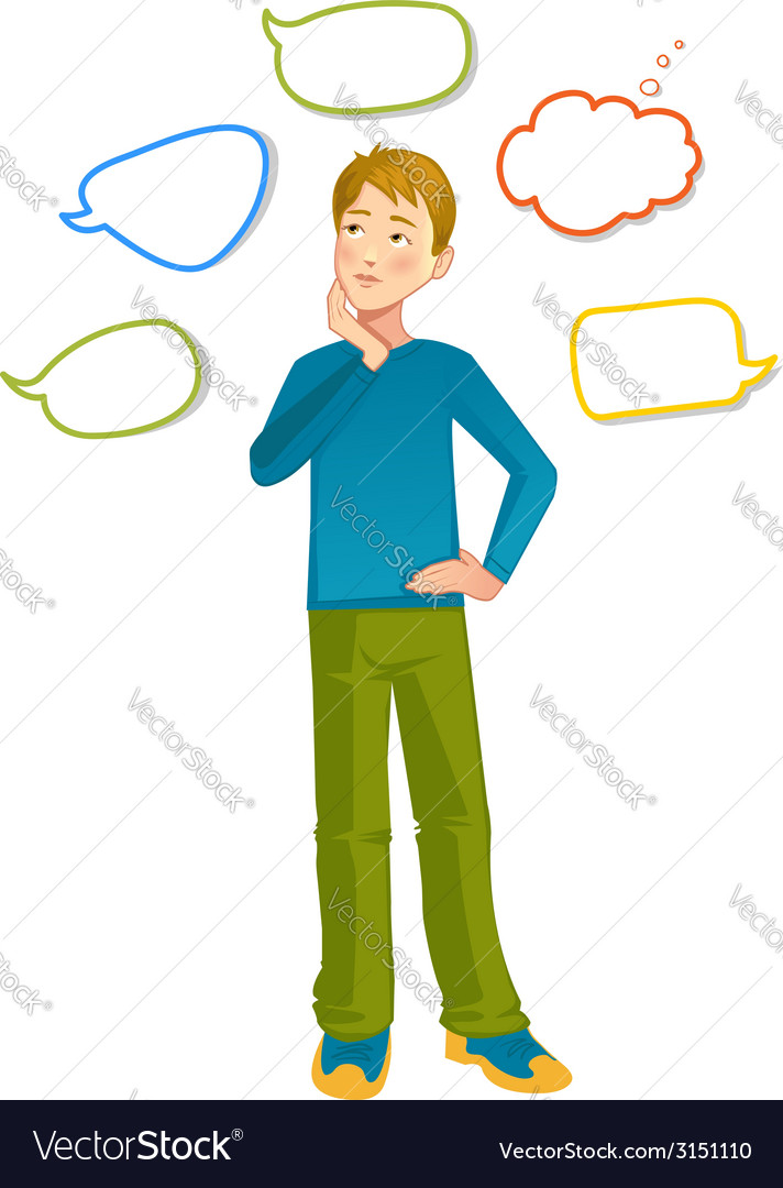 Boy with speech bubbles around vector | Price: 1 Credit (USD $1)