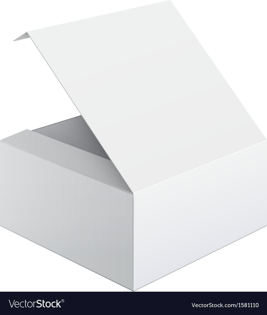 Cool realistic white package box opened square vector | Price: 1 Credit (USD $1)