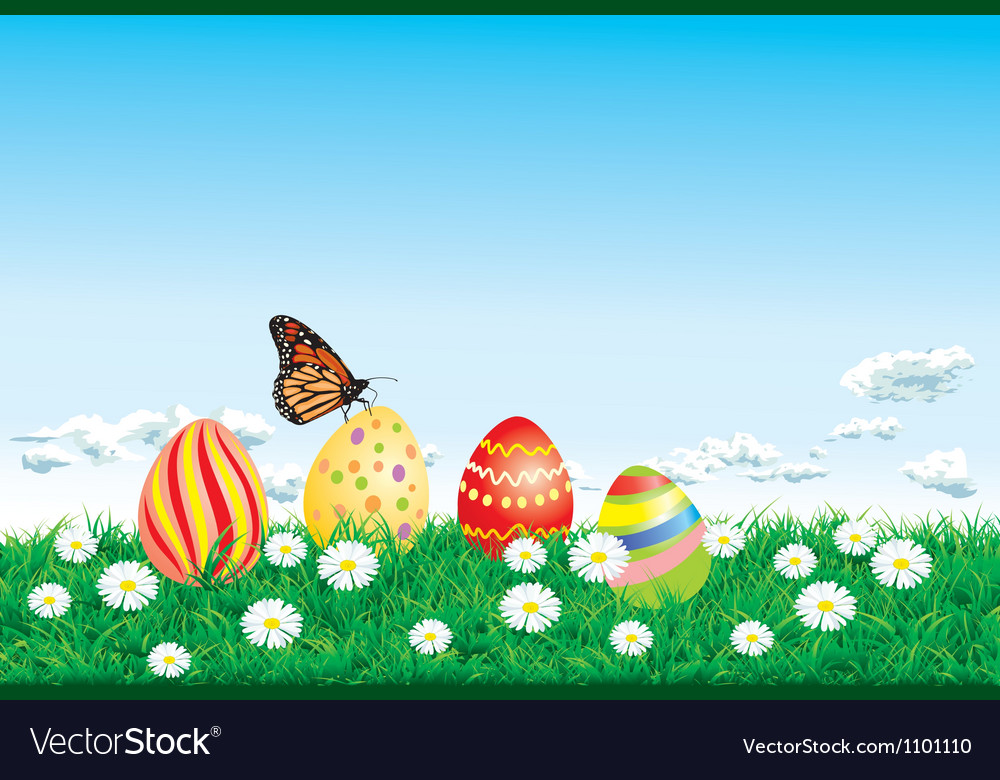 Easter background with decorated easter eggs vector | Price: 1 Credit (USD $1)