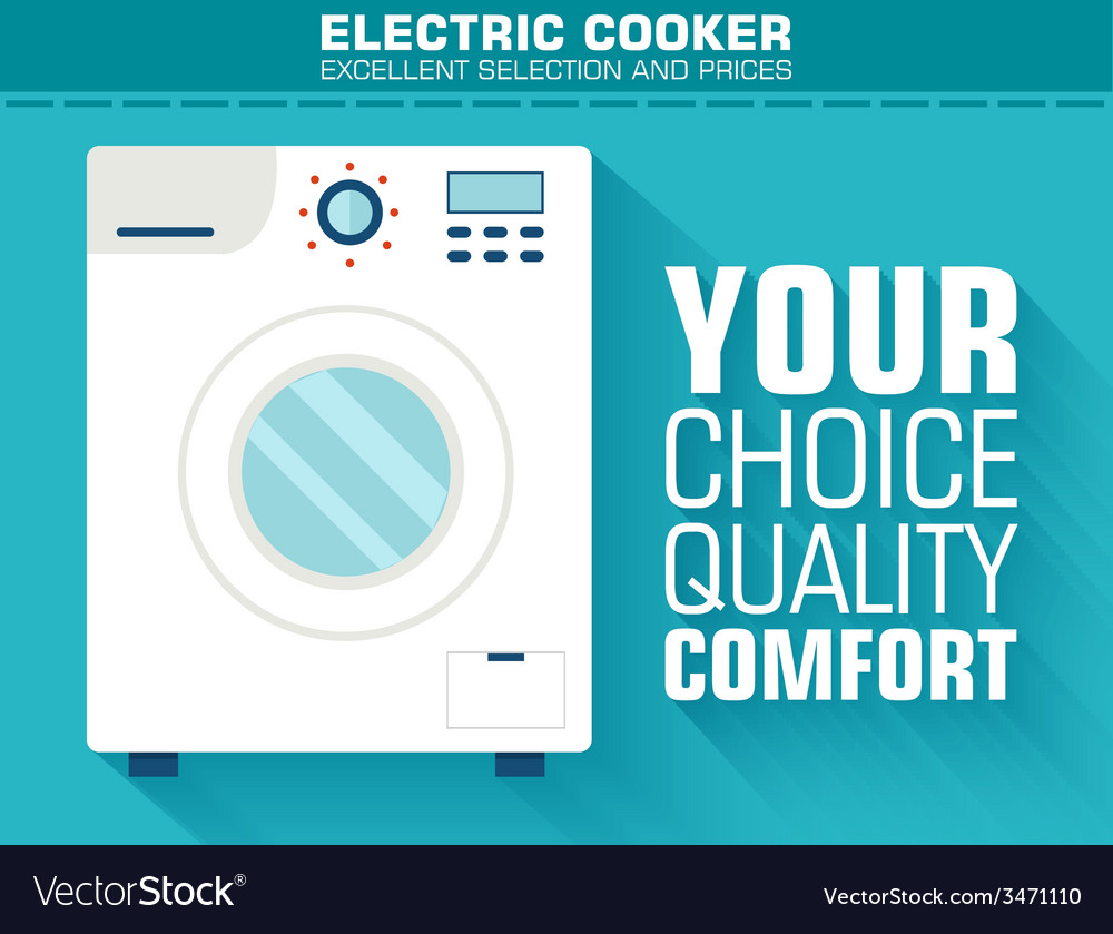 Flat washing machine with the slogan on the vector | Price: 1 Credit (USD $1)