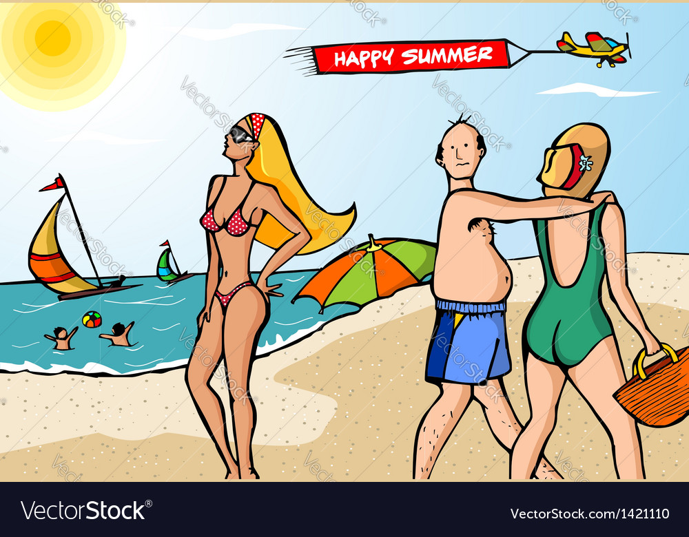 Funny scene at the beach vector | Price: 1 Credit (USD $1)
