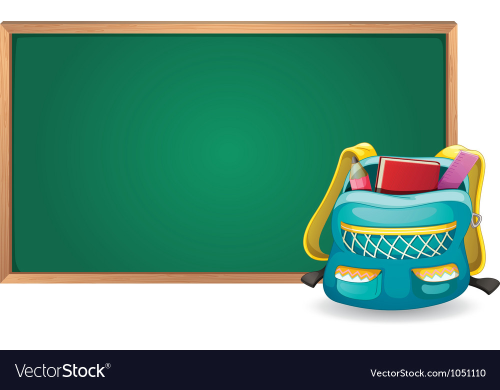Green board and school bag vector | Price: 1 Credit (USD $1)
