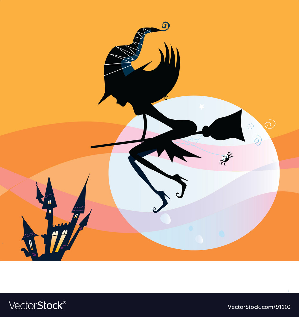 Halloween witch silhouette vector   Price: 1 Credit (USD $1)