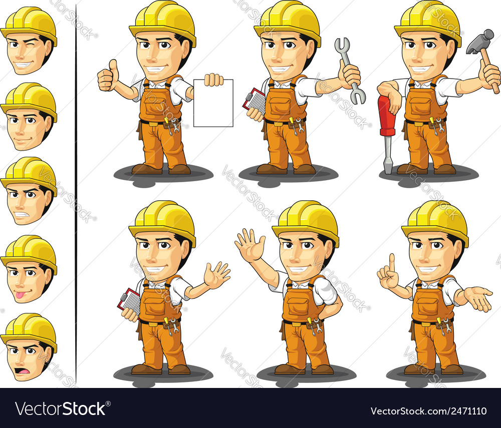 Industrial construction worker mascot 2 vector | Price: 1 Credit (USD $1)