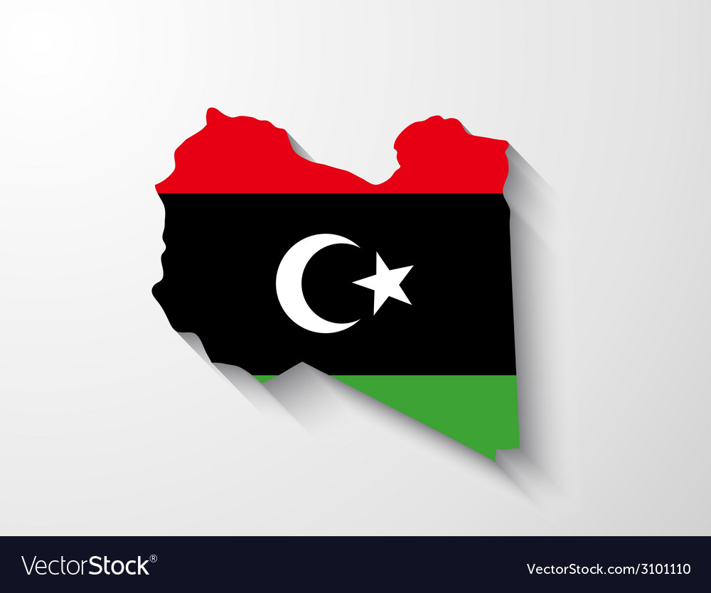 Libya map with shadow effect vector | Price: 1 Credit (USD $1)