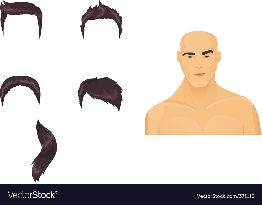 Male hairstyles black vector | Price: 1 Credit (USD $1)
