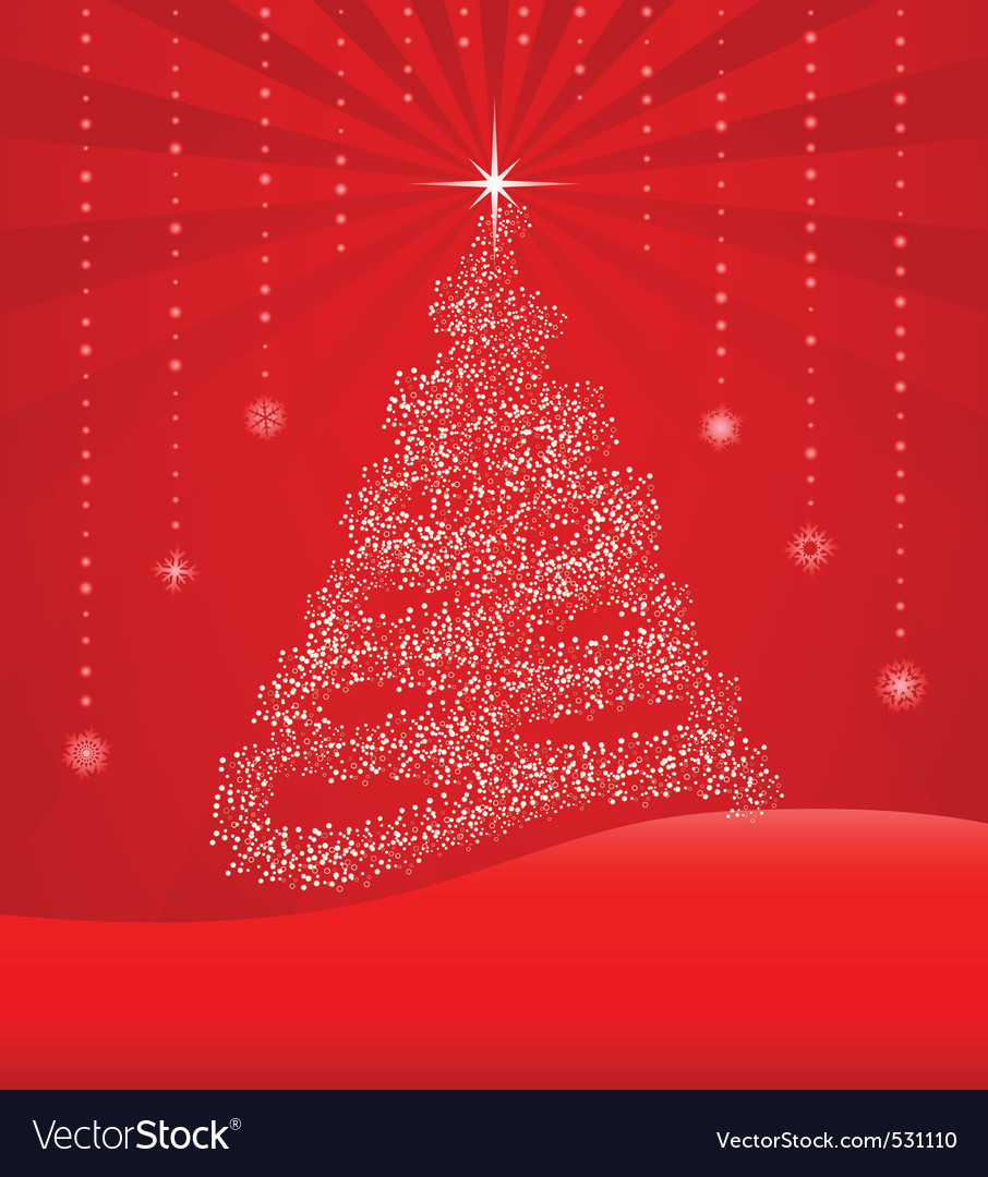 Red background with christmas tree vector   Price: 1 Credit (USD $1)