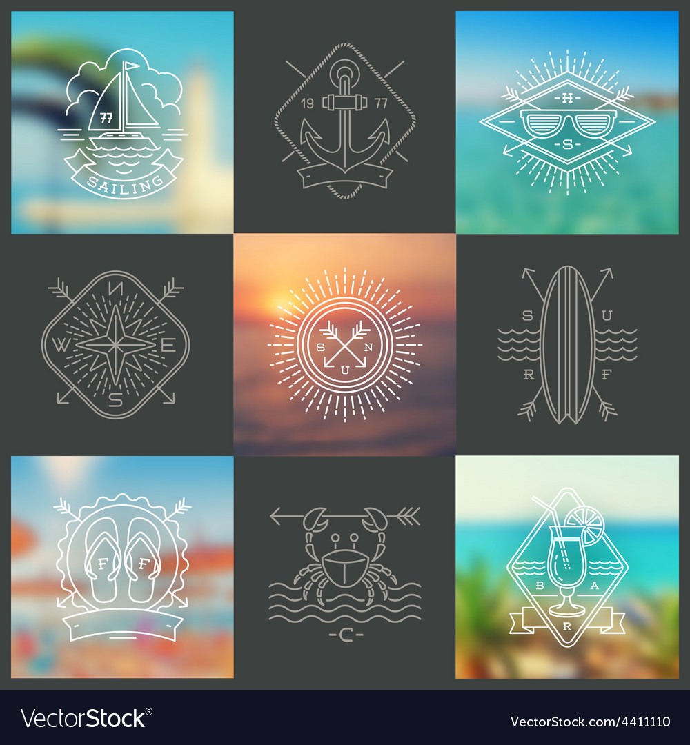 Summer holidays vacation and travel emblems vector | Price: 1 Credit (USD $1)
