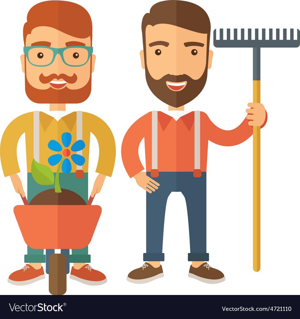 Two men with wheelbarrow and rake vector | Price: 1 Credit (USD $1)