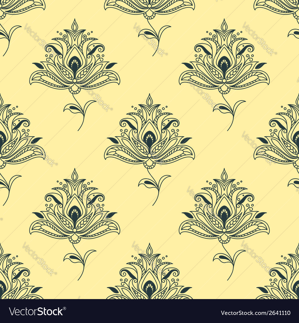 Vintage seamless persian paisley floral element vector | Price: 1 Credit (USD $1)
