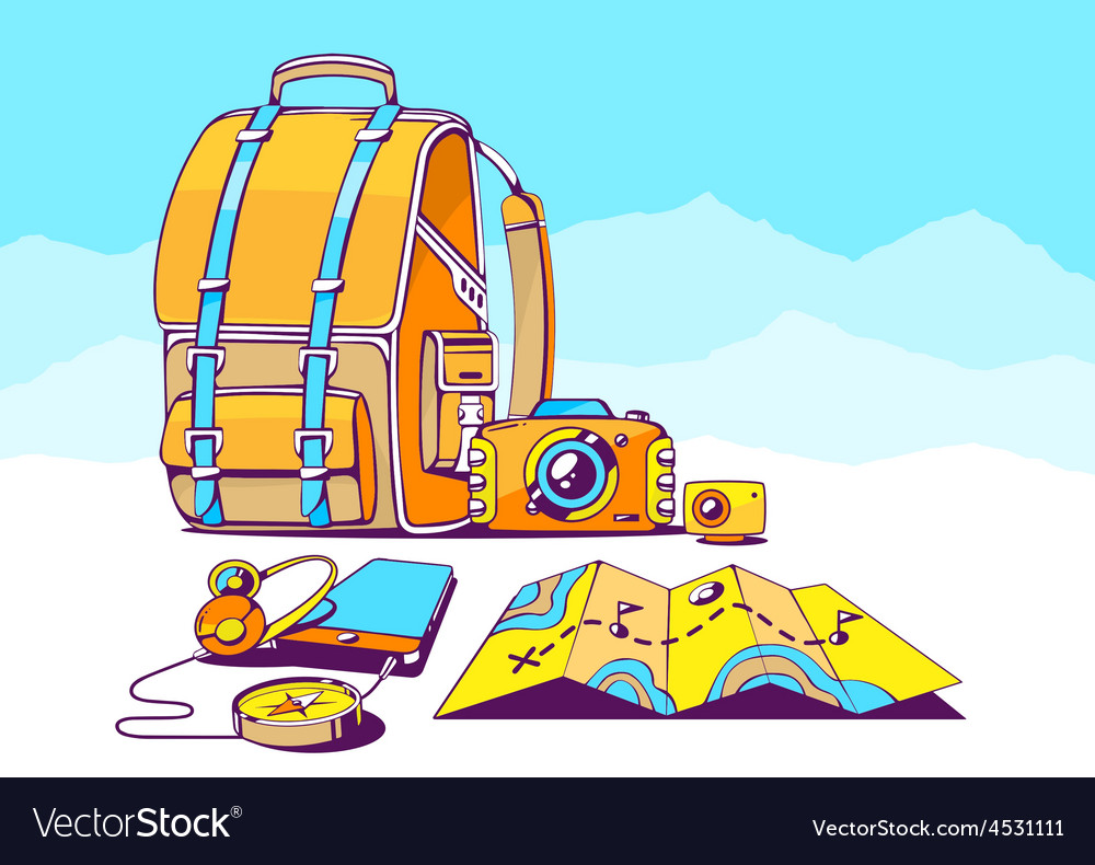 Backpack and travel accessories on blue m vector | Price: 1 Credit (USD $1)