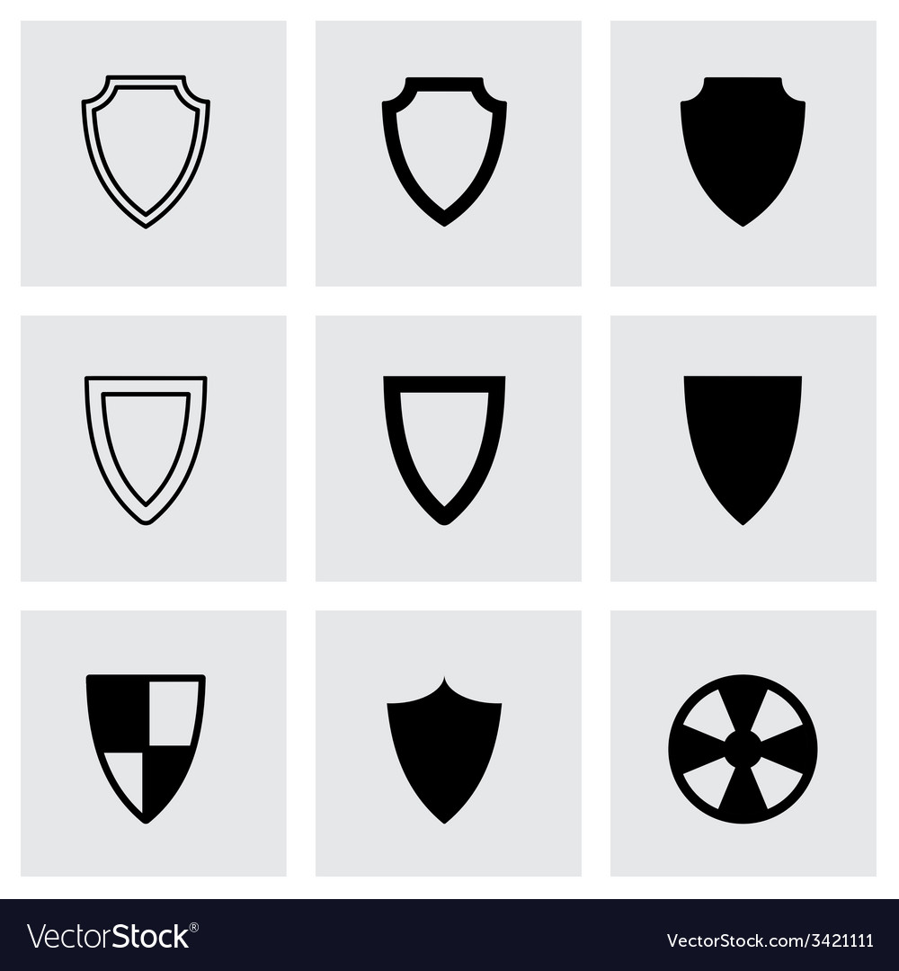 Black shield icon set vector | Price: 1 Credit (USD $1)