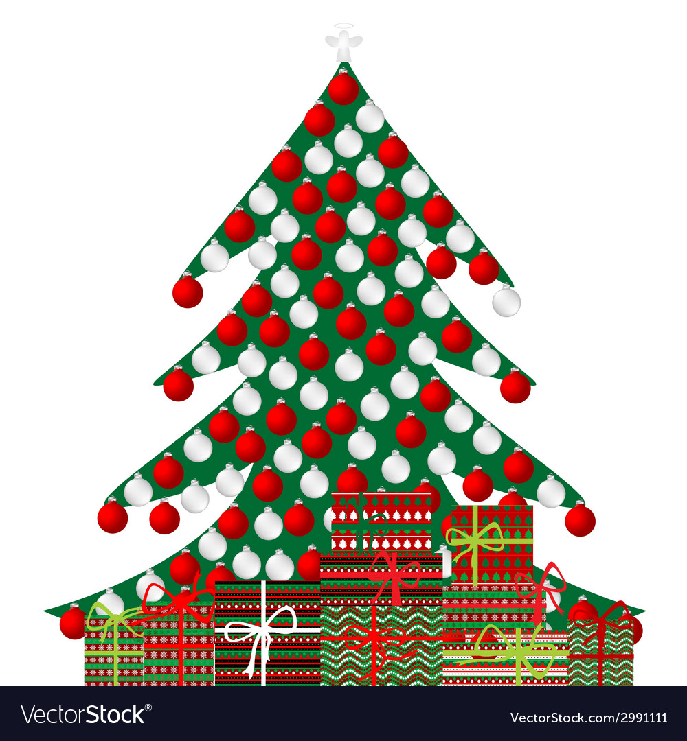 Christmas tree and gift boxes on white background vector | Price: 1 Credit (USD $1)