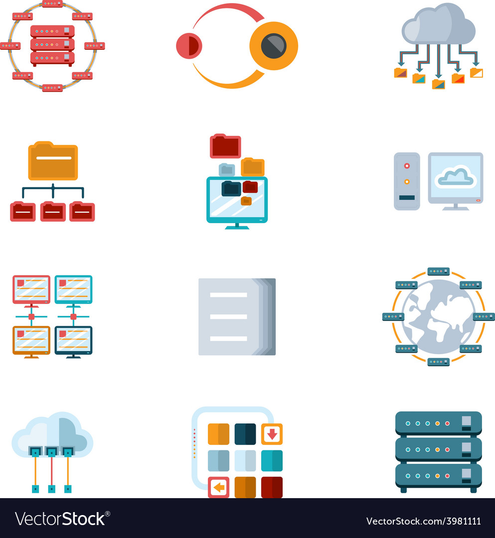 Computer networking icons vector | Price: 1 Credit (USD $1)