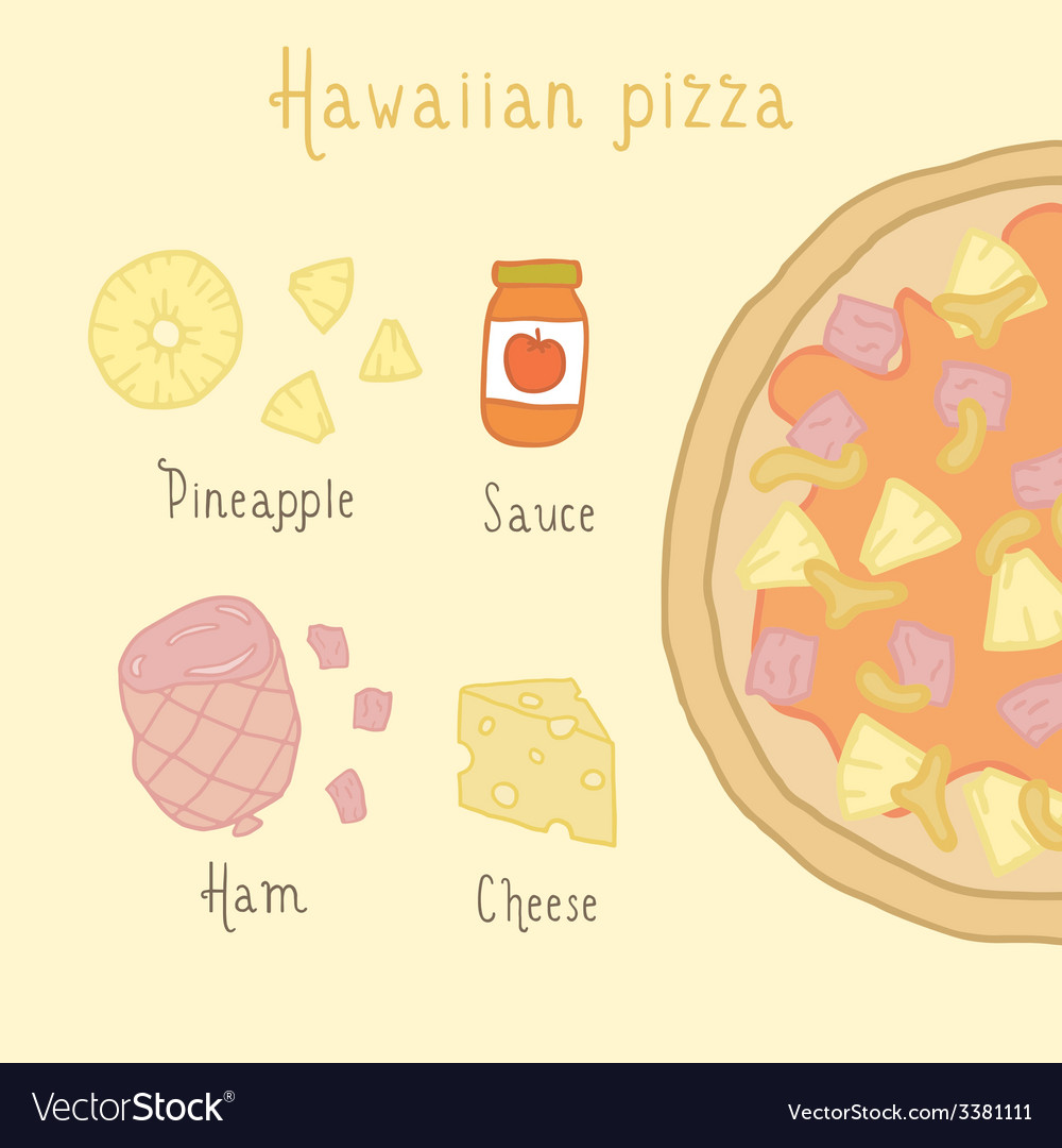Hawaiian pizza ingredients vector | Price: 1 Credit (USD $1)