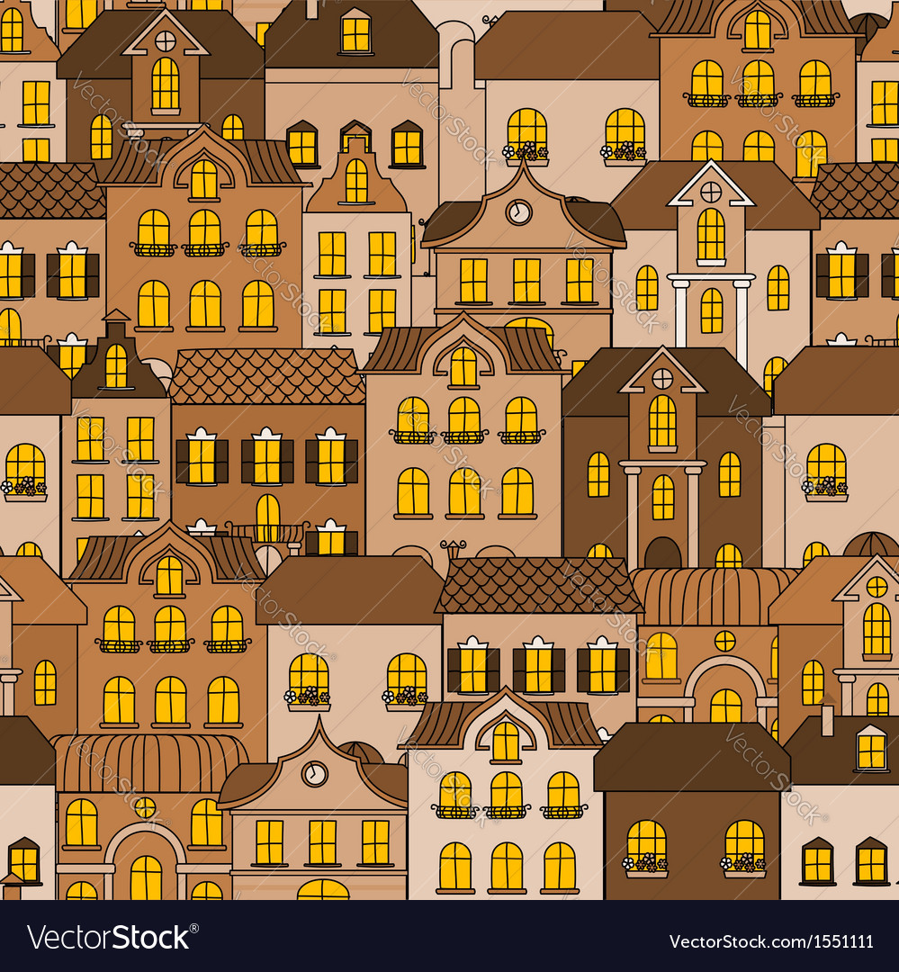 Old town seamless pattern vector | Price: 1 Credit (USD $1)