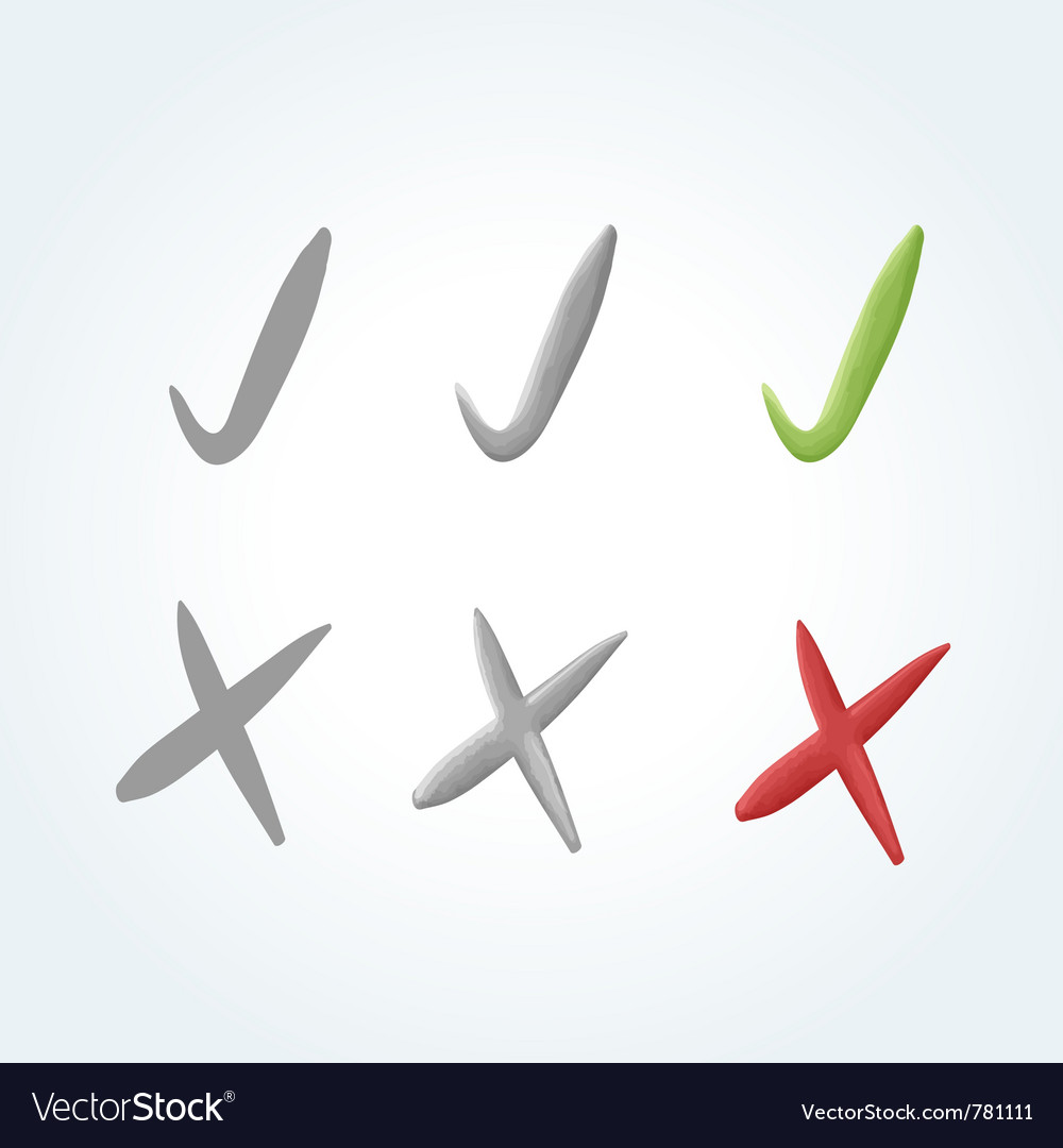 Set of 3 check mark and 3 cross mark icons vector | Price: 1 Credit (USD $1)