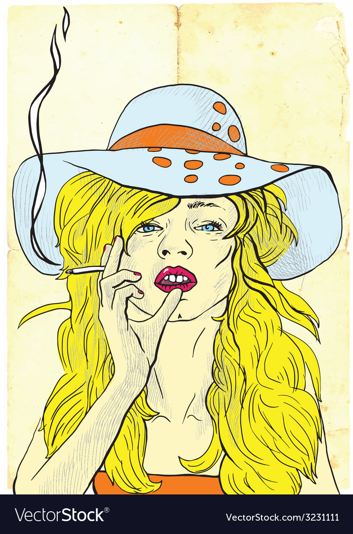 Smoker beauty with a cigarette vector | Price: 1 Credit (USD $1)