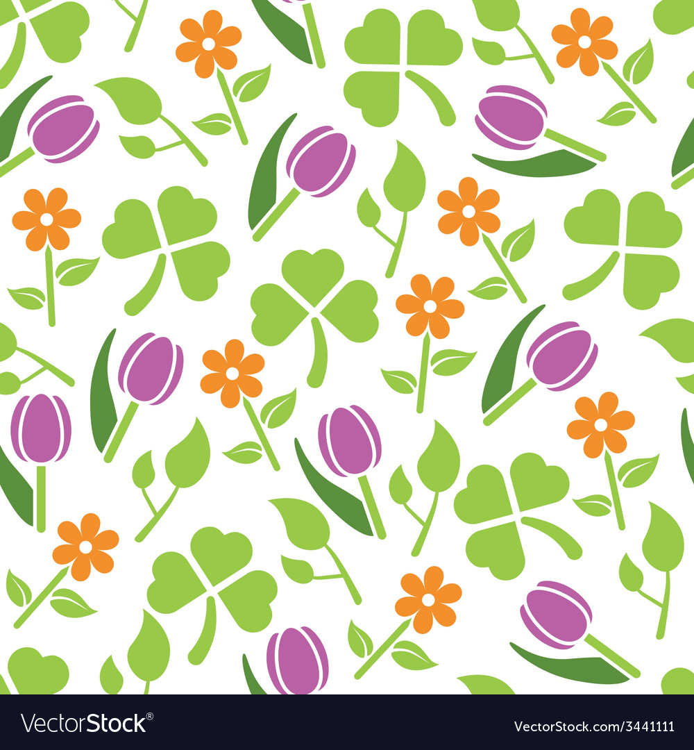 Spring plants seamless pattern vector | Price: 1 Credit (USD $1)