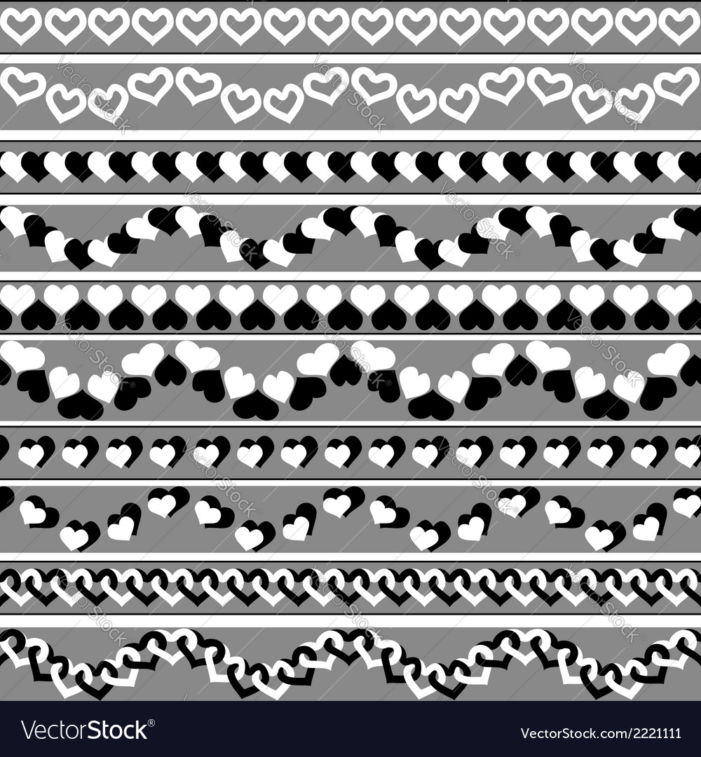 Valentines day black-and-white borders vector | Price: 1 Credit (USD $1)