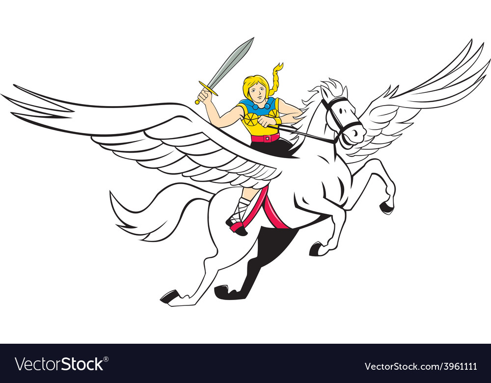 Valkyrie amazon warrior flying horse cartoon vector | Price: 1 Credit (USD $1)
