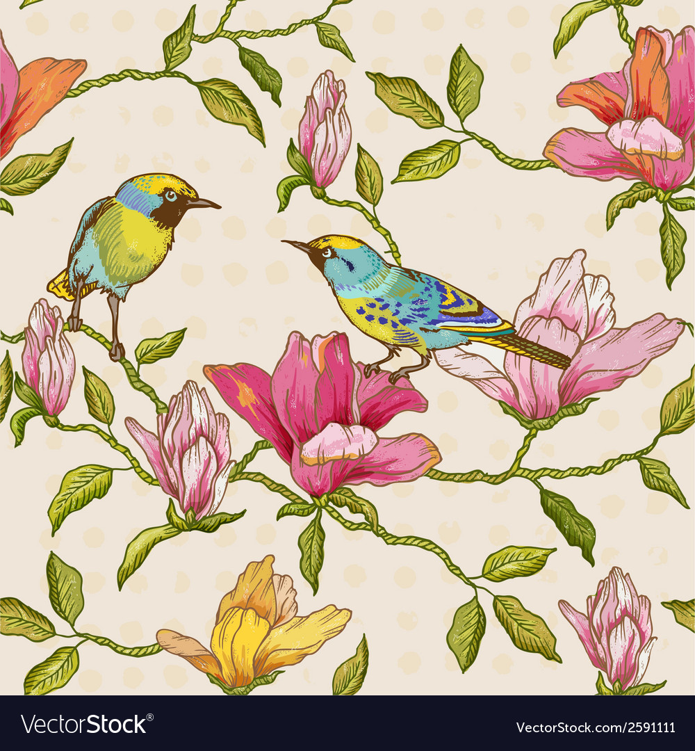 Vintage seamless background - flowers and birds vector   Price: 1 Credit (USD $1)