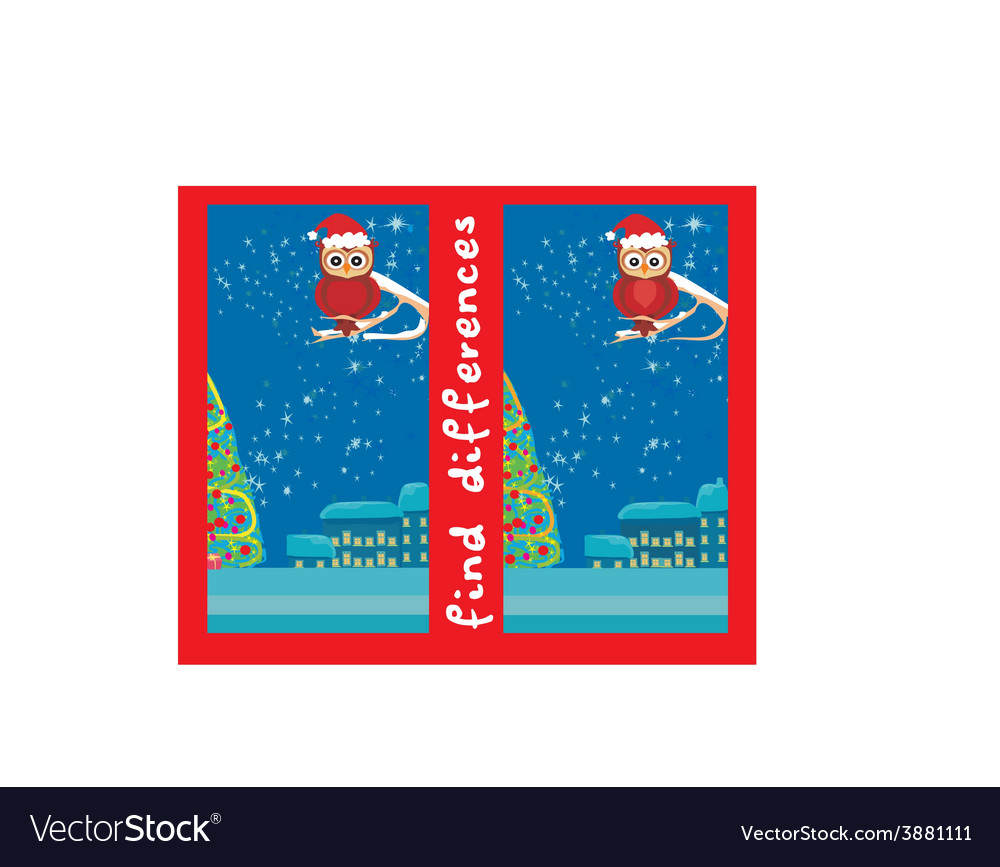 Winter card with cute owl find the differences vector | Price: 1 Credit (USD $1)