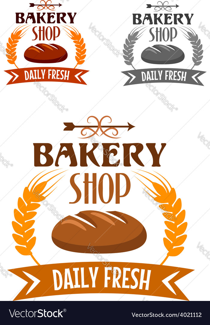 Bakery shop logo with fresh bread vector | Price: 1 Credit (USD $1)