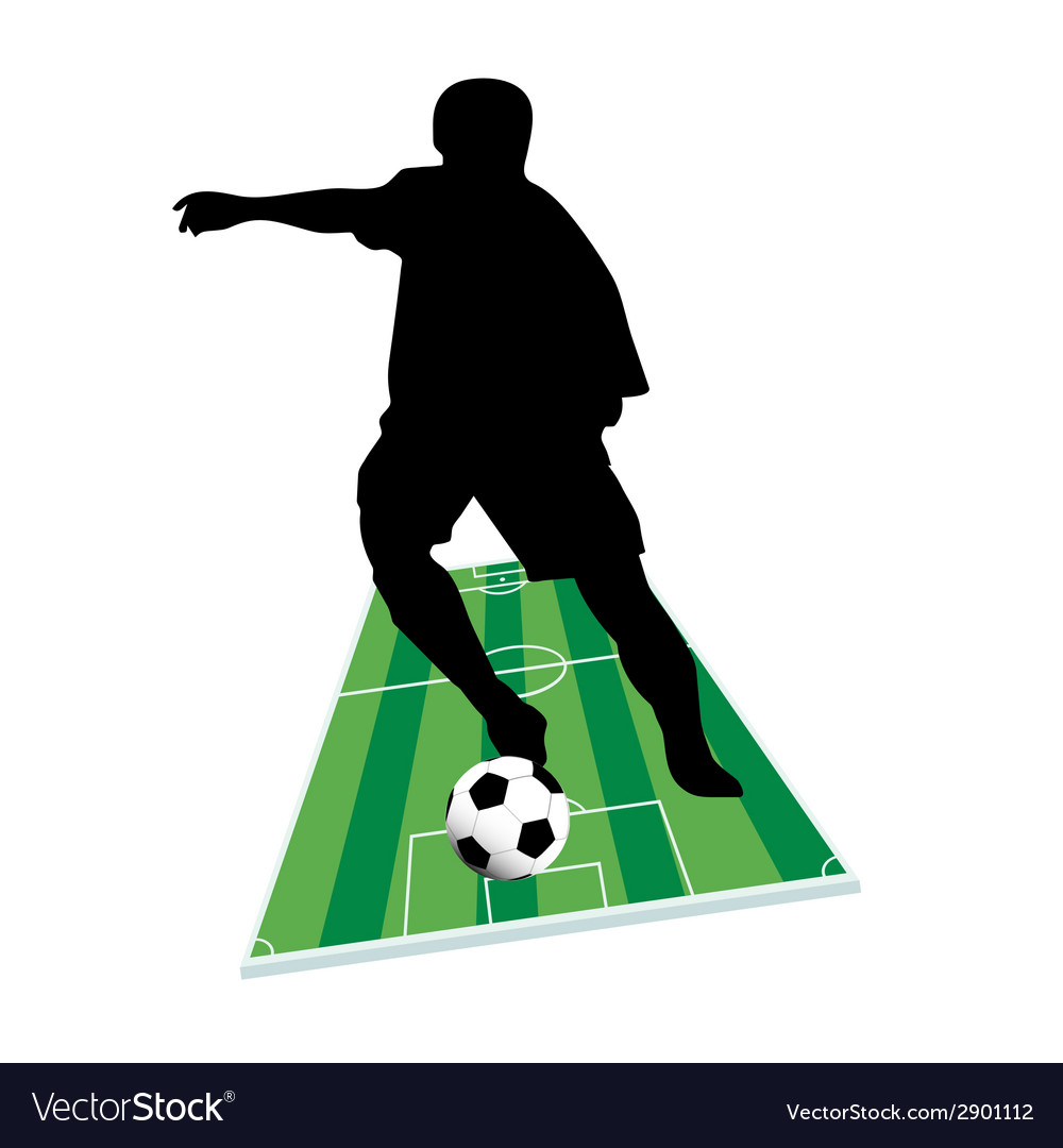 Football player with the ball on the ground vector | Price: 1 Credit (USD $1)