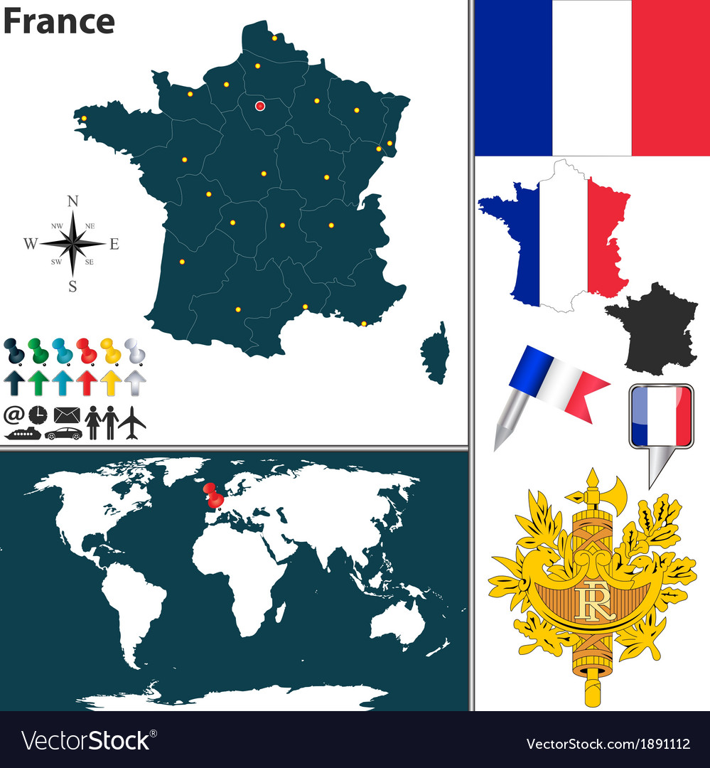 France map world vector | Price: 1 Credit (USD $1)