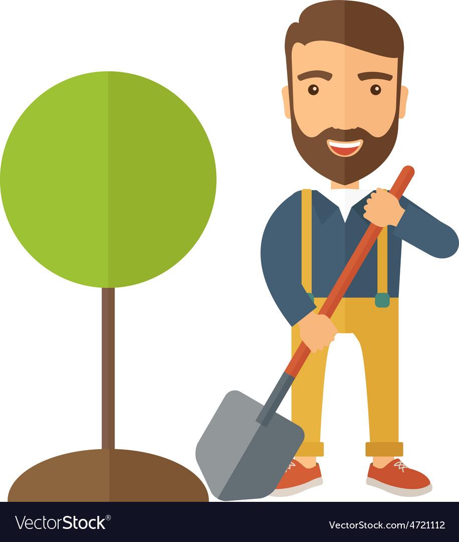 Gardener plant a tree vector | Price: 1 Credit (USD $1)