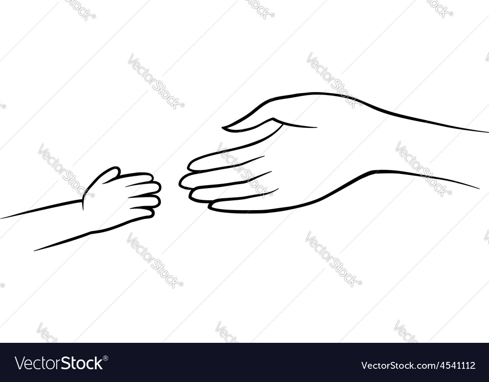 Hands of mother and child vector | Price: 1 Credit (USD $1)