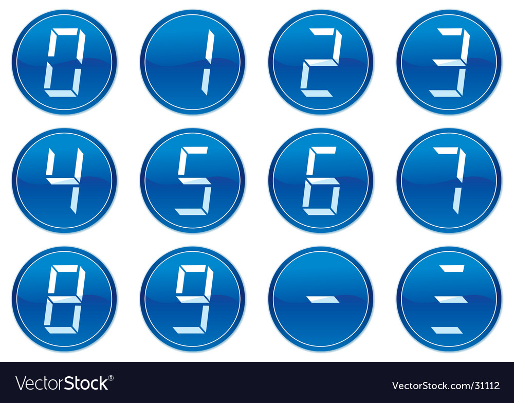Liquid crystal digits icons vector | Price: 1 Credit (USD $1)