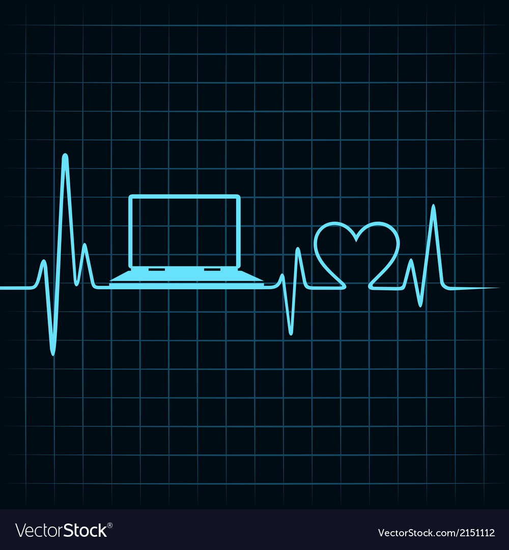 Medical technology concept heartbeat make laptop vector | Price: 1 Credit (USD $1)