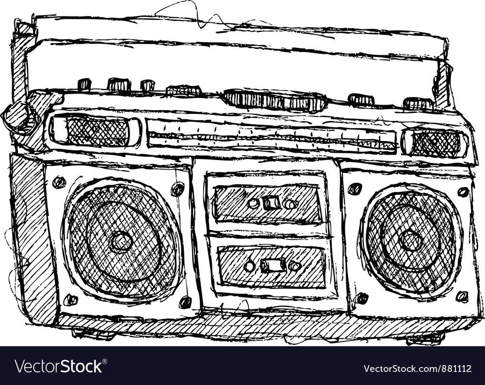 Scribble series - boombox vector | Price: 1 Credit (USD $1)