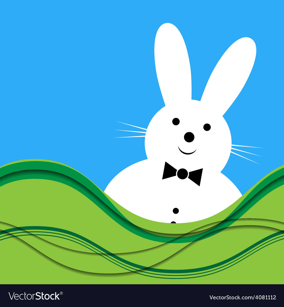 White bunny with bow tie vector | Price: 1 Credit (USD $1)