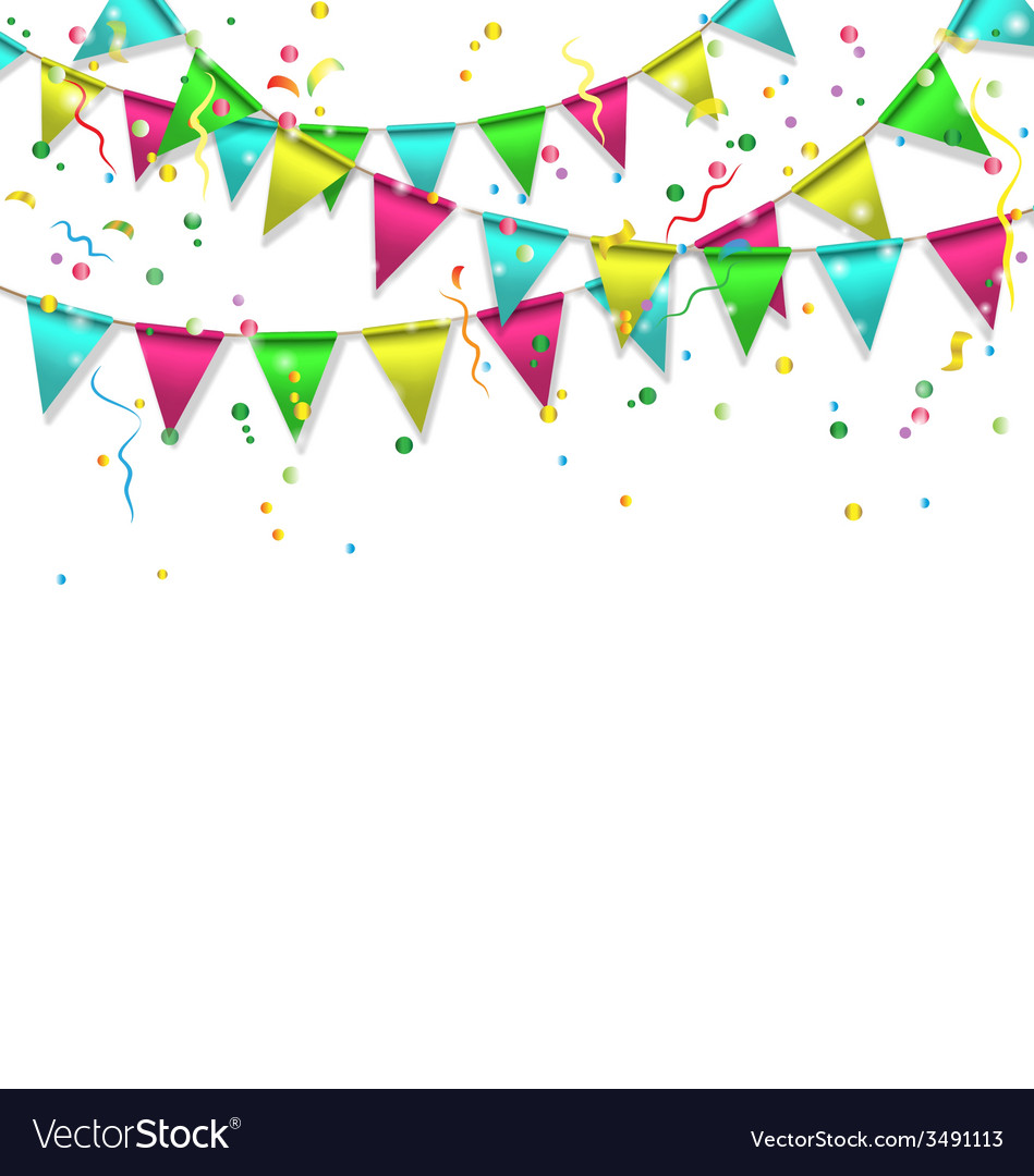 Buntings with confetti isolated on white vector | Price: 1 Credit (USD $1)