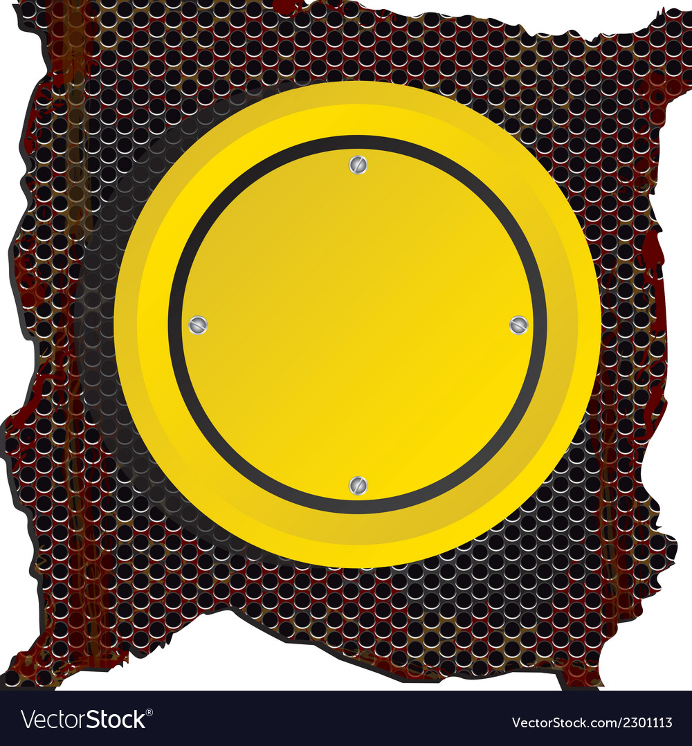 Circle yellow sign over rusty background vector | Price: 1 Credit (USD $1)