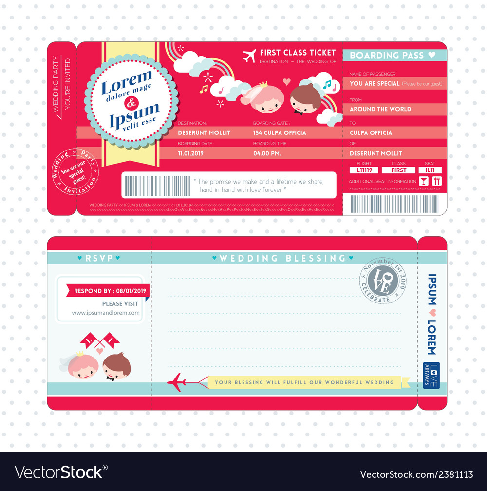 Cute boarding pass ticket wedding invitation card vector | Price: 1 Credit (USD $1)