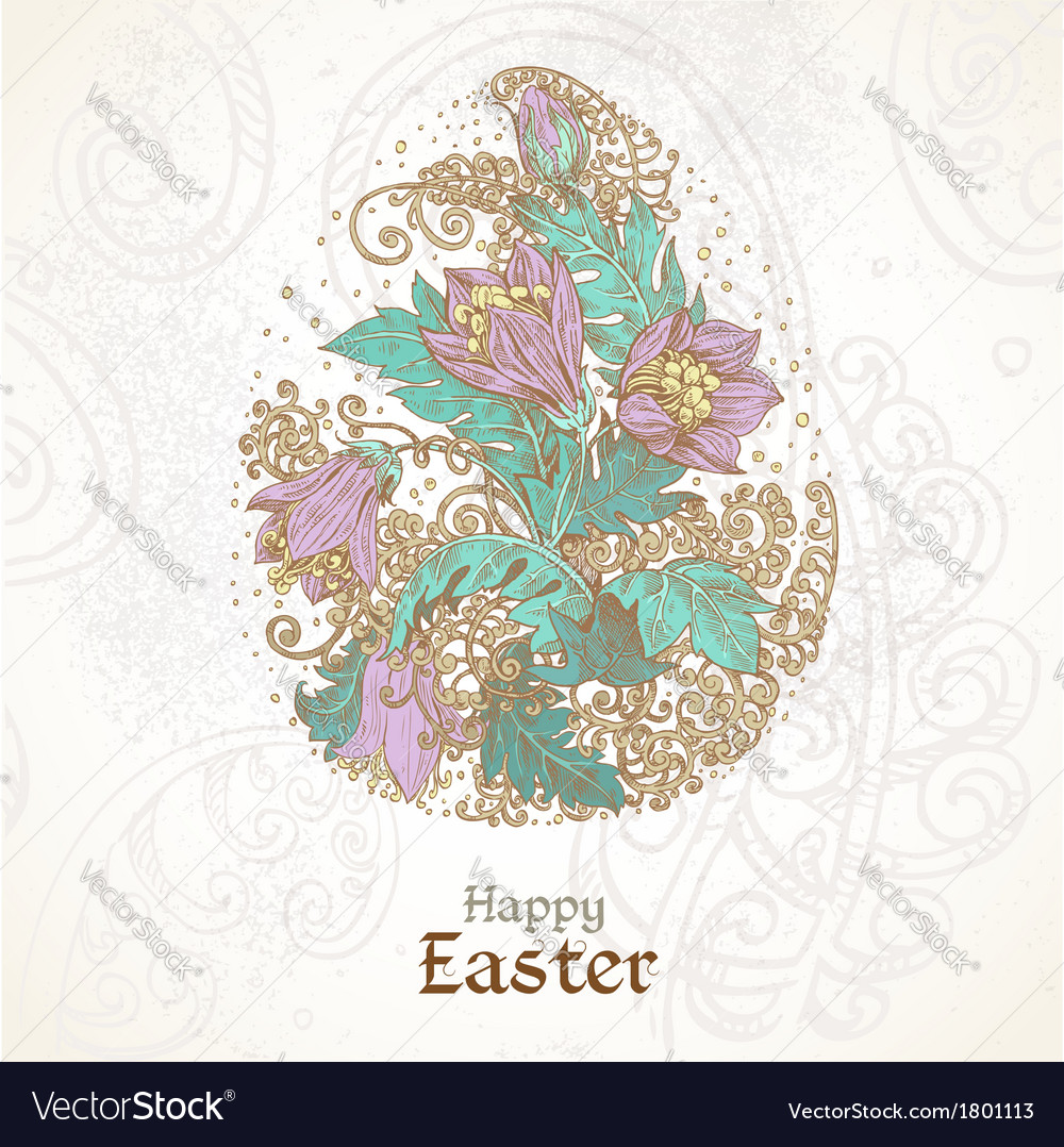 Easter background with delicate egg from flowers vector | Price: 1 Credit (USD $1)
