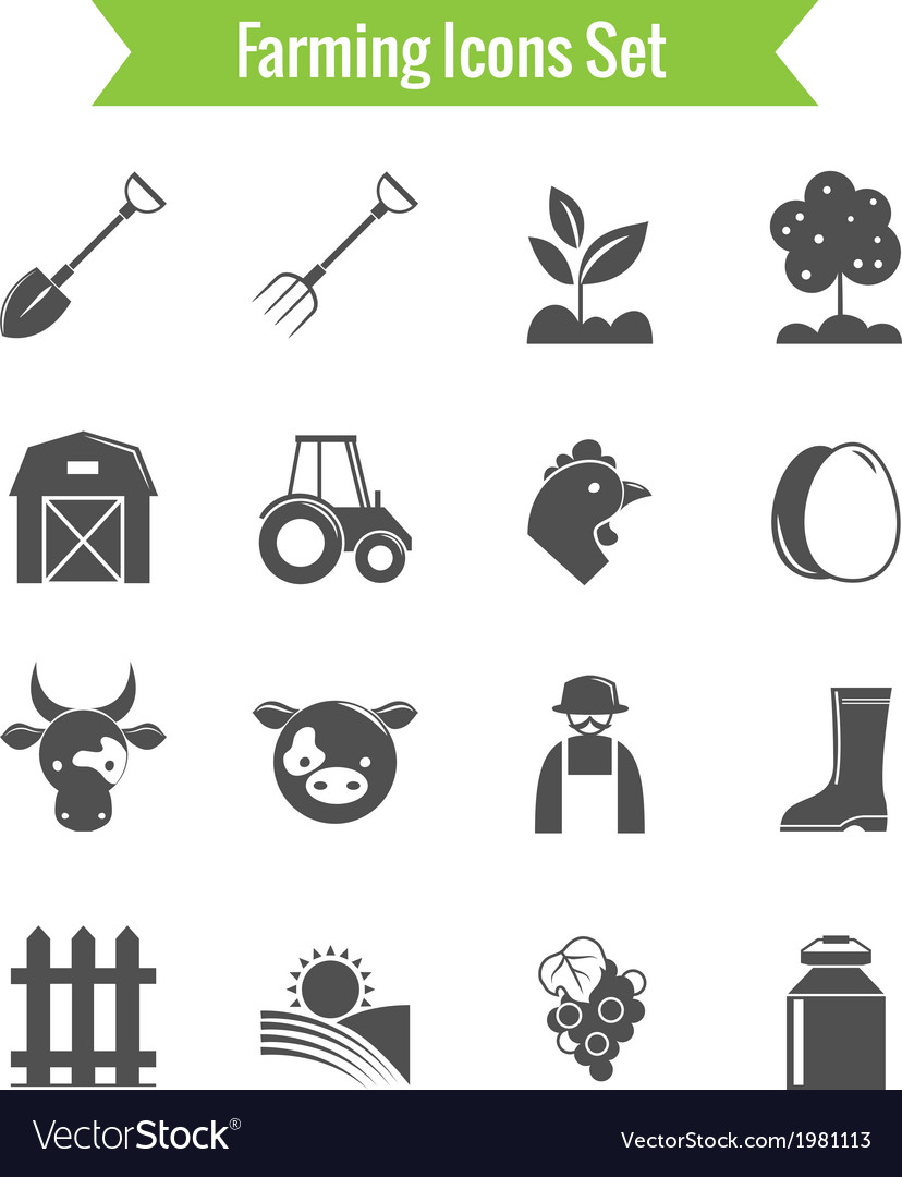 Farming harvesting and agriculture icons set vector | Price: 1 Credit (USD $1)