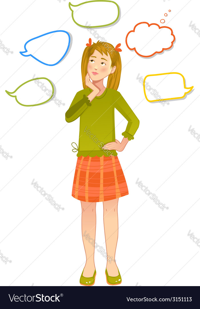 Girl with speech bubbles around vector | Price: 1 Credit (USD $1)