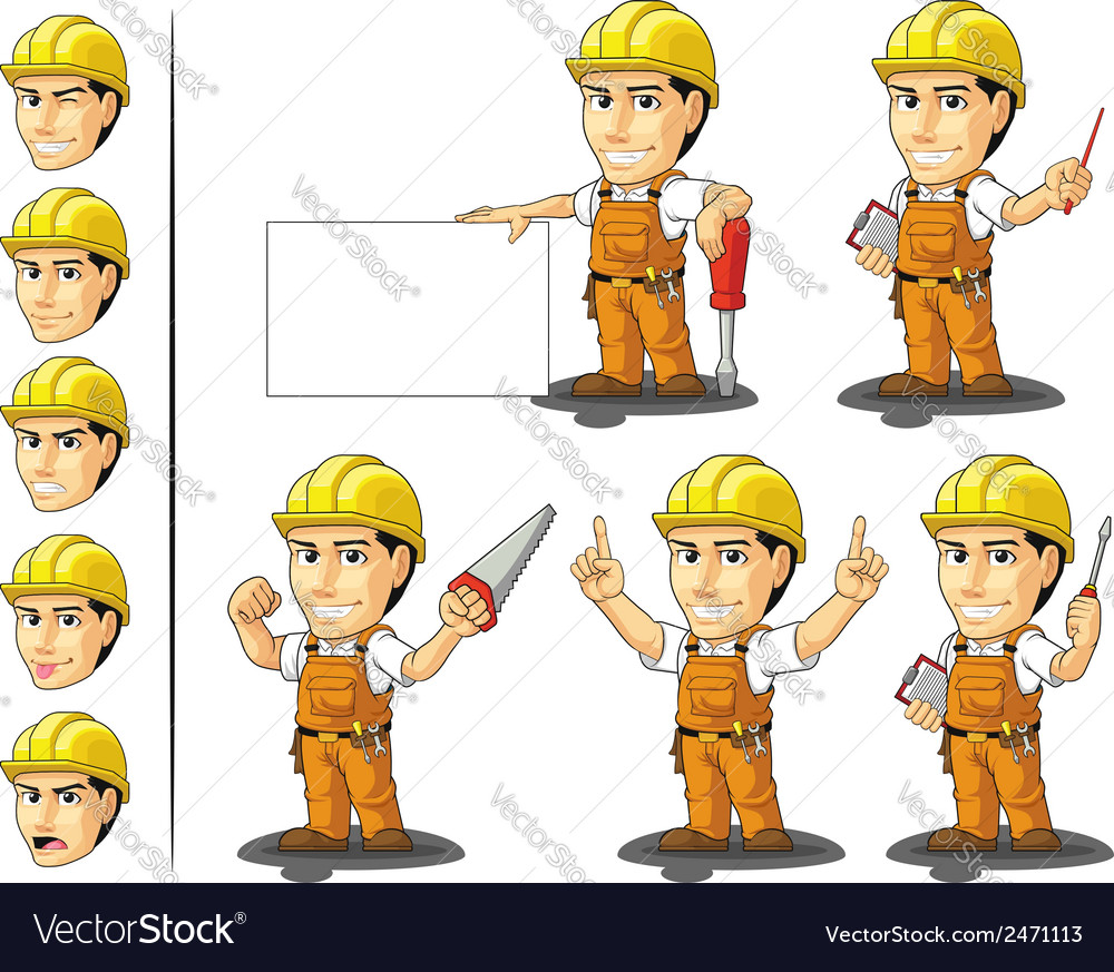 Industrial construction worker mascot 3 vector | Price: 1 Credit (USD $1)