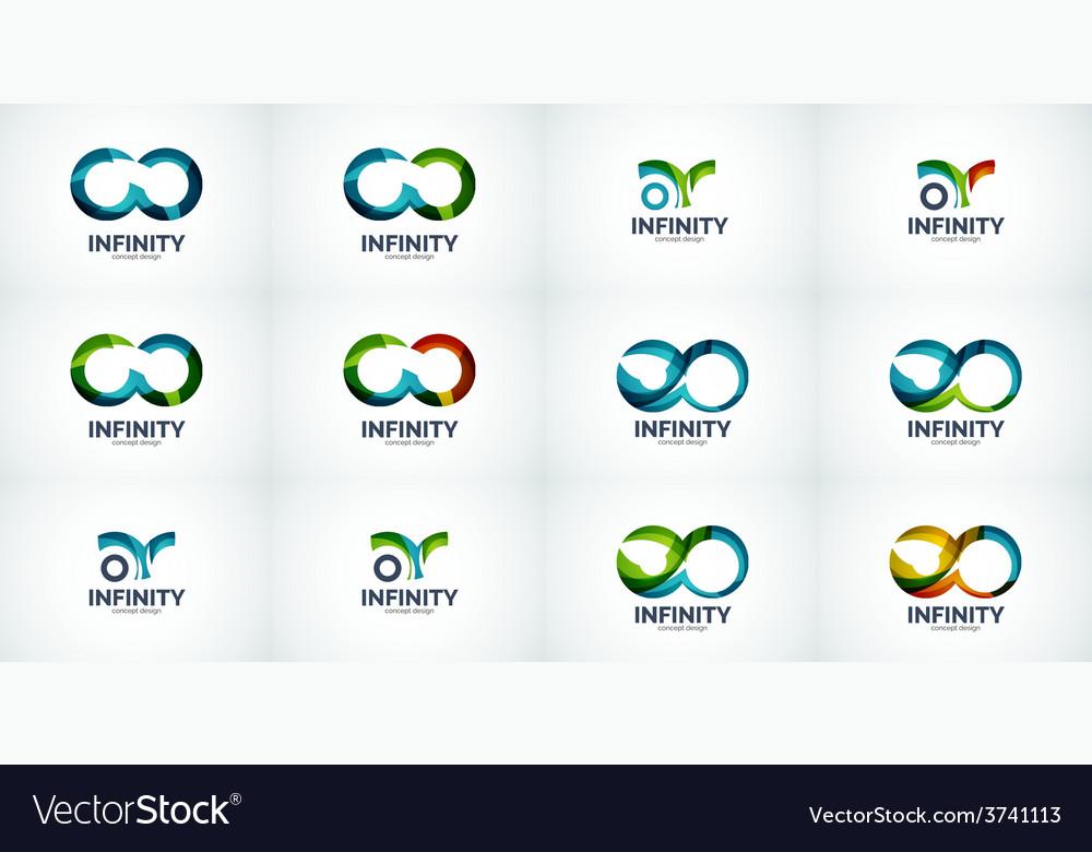 Infinity company logo icon set vector