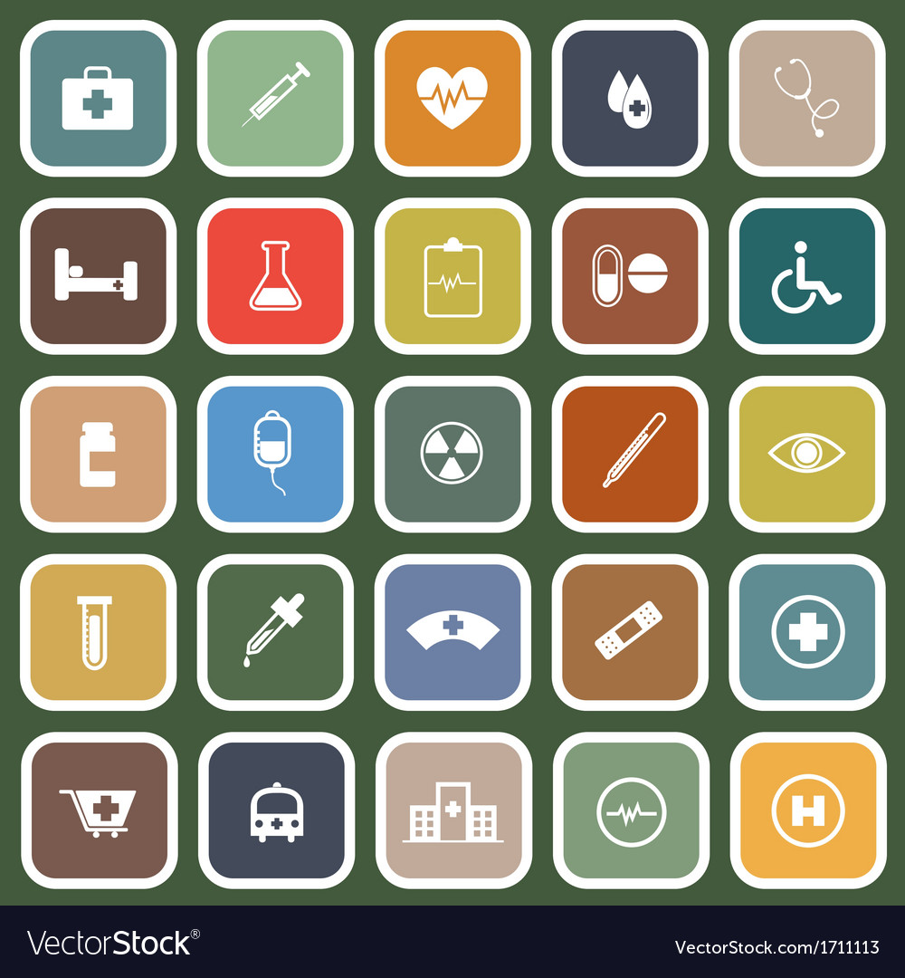 Medical flat icons on green background vector | Price: 1 Credit (USD $1)