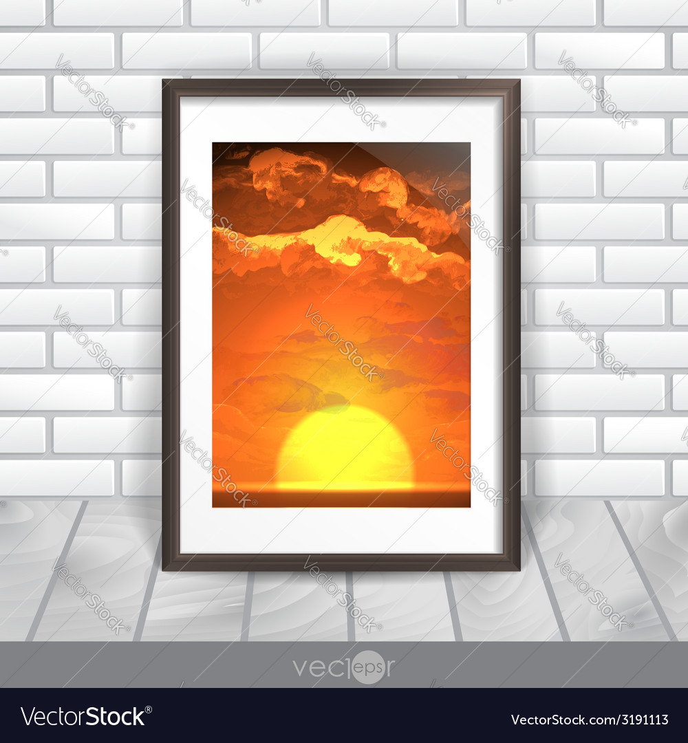 Photo frame on the wall vector | Price: 1 Credit (USD $1)