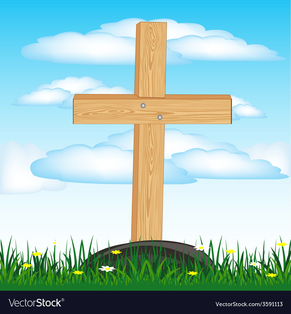 Wooden cross on grave vector | Price: 1 Credit (USD $1)