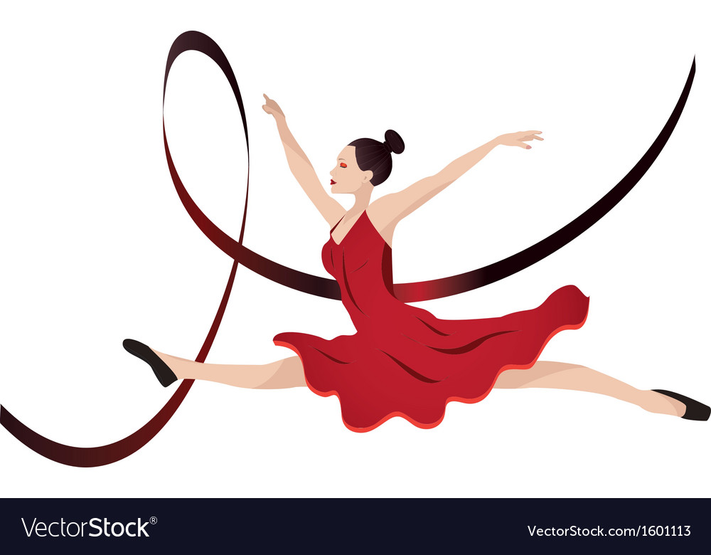 Young woman dancing vector | Price: 1 Credit (USD $1)