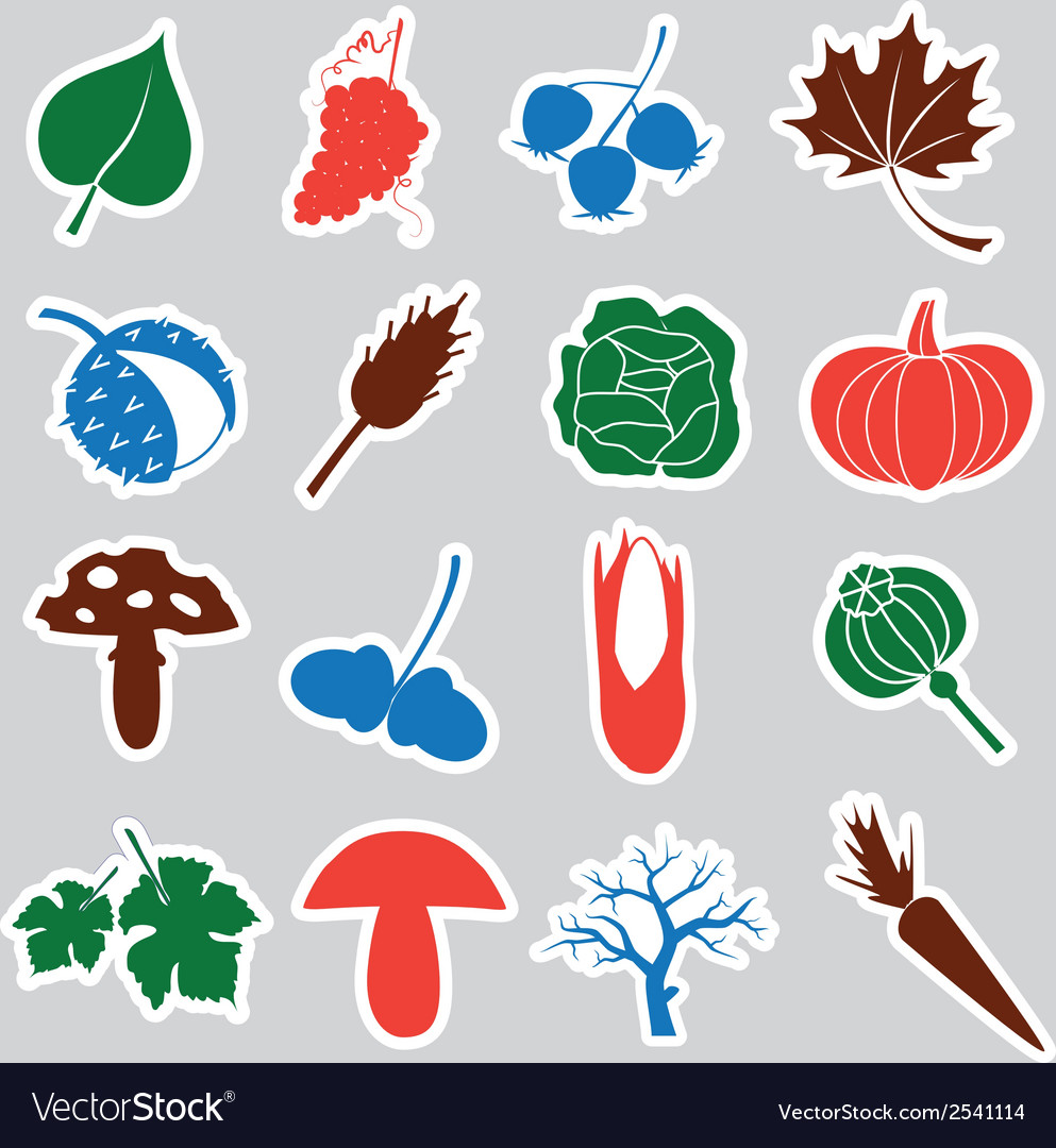 Autumn stickers eps10 vector | Price: 1 Credit (USD $1)