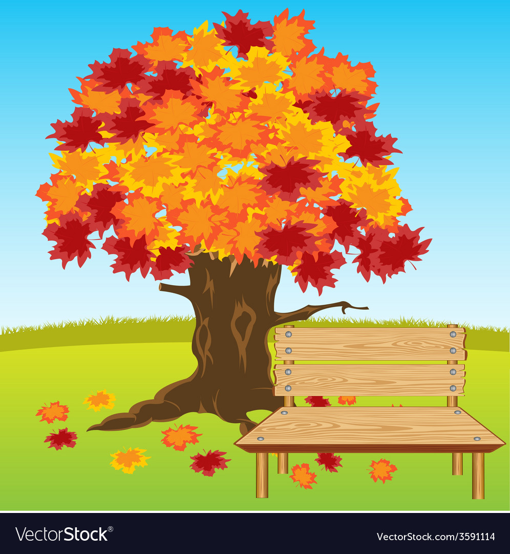 Bench under tree vector | Price: 1 Credit (USD $1)